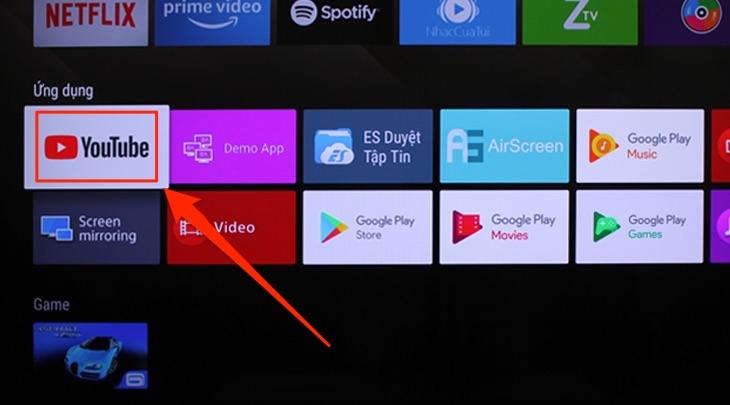 Ứng dụng Youtube trên tivi Sony