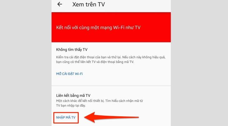 Mục NHẬP MÃ TV trên điện thoại