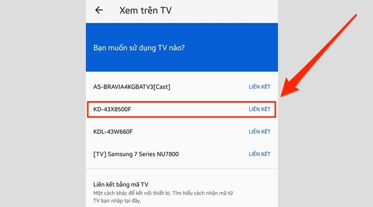 Mục Xem trên TV từ Youtube trên điện thoại