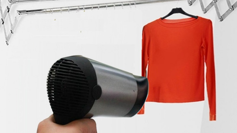 Loại bỏ mùi nấm mốc trên quần áo bằng máy sấy tóc