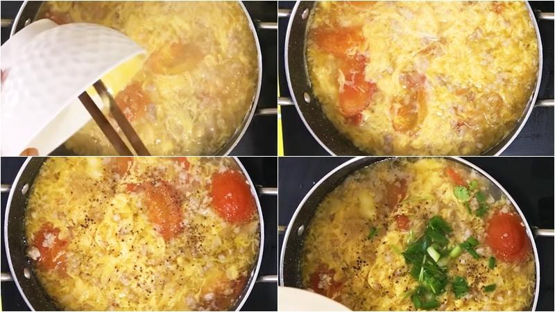 Nấu trứng với canh cà chua
