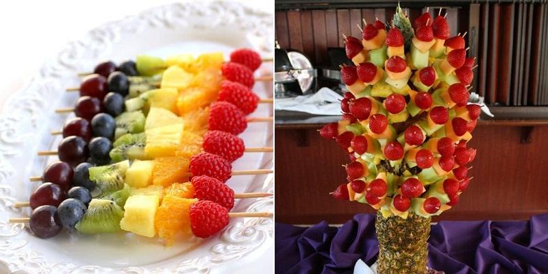 Xiên hoa quả là cách trang trí khá đơn giản nhưng rất bắt mắt.