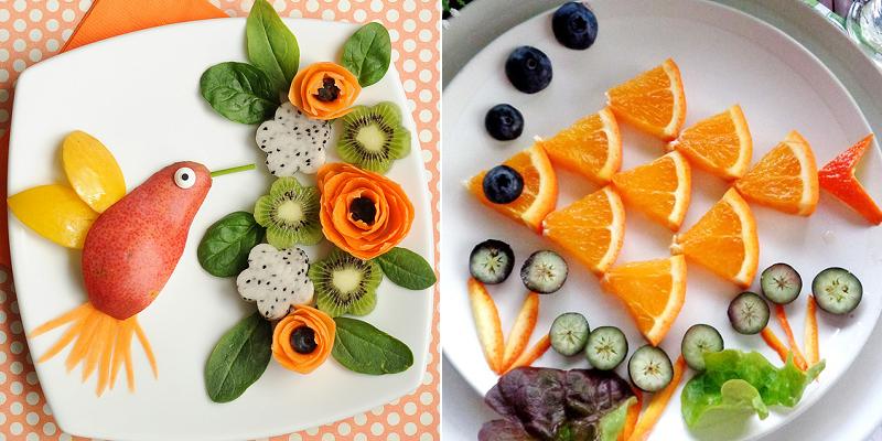 """Hãy cùng bé sáng tạo những """"bức tranh"""" hoa quả tuyệt đẹp trên đĩa trắng."""