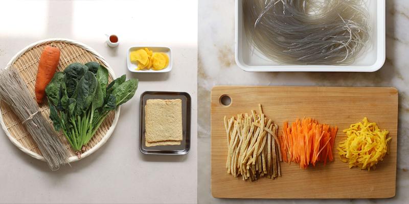 Ngâm miến với nước, thái sợi cà rốt, chả cá, củ cải muối