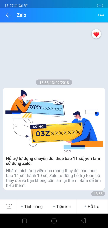 Zalo gửi thông báo cho người dùng về việc ứng dụng này sẽ tự động cập nhật chuyển đổi đầu số mới