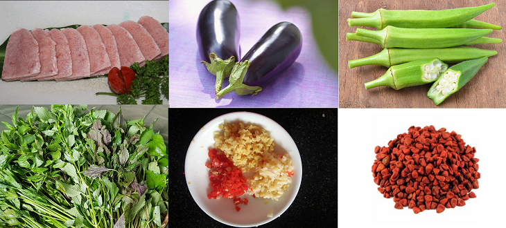 Một số nguyên liệu cho món nầm heo nướng