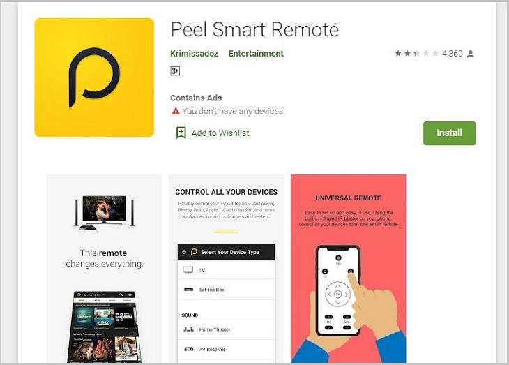 Ứng dụng Peel Universal Smart TV Remote Control