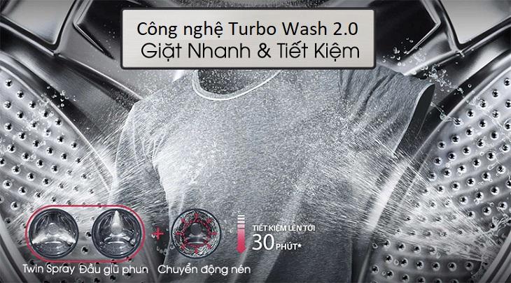 Công nghệ Turbo Wash - Máy giặt sấy LG Inverter 10.5 kg FG1405H3W1