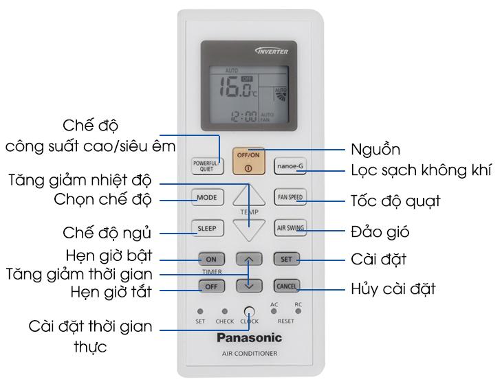 Hướng dẫn sử dụng remote máy lạnh Panasonic dòng PUxUKH, NxUKH