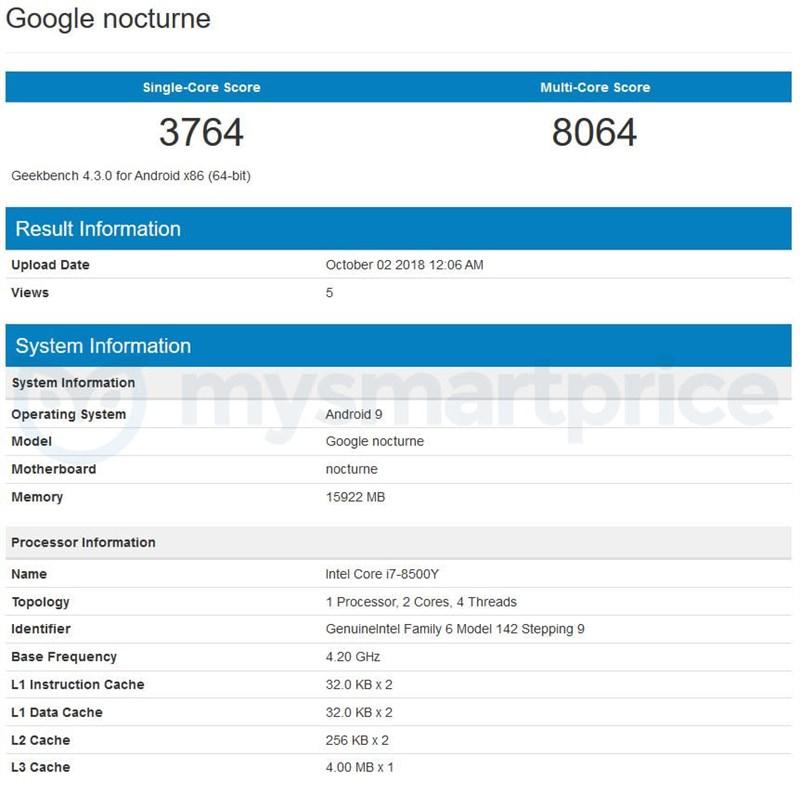Google Pixel Slate, máy tính bảng 2 trong 1 xuất hiện trên Geekbench