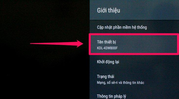 Thông tin tên của tivi nhà bạn