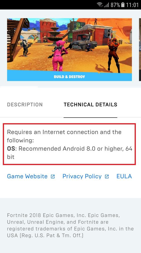 Yêu cầu cấu hình để cài đặt game Fortnite Android
