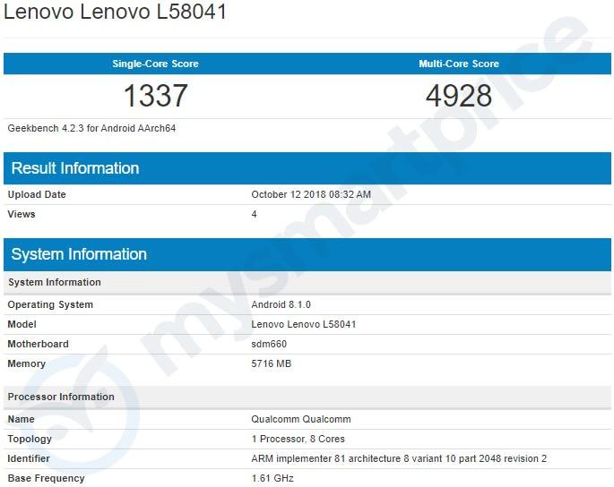 Lenovo S5 Pro dùng chip Snapdragon 660 AIE xuất hiện trên Geekbench