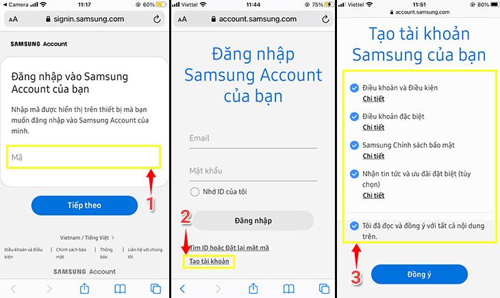 cách tạo tài khoản Samsung Account trên Smart Tivi Samsung 2