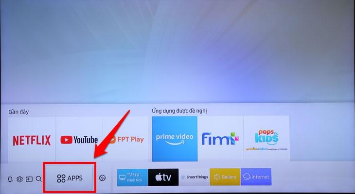 Mục APPS trên tivi Samsung