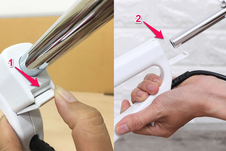 Cách tháo ống tay cầmmáy hút bụi cầm tay Midea MVC-SC861B