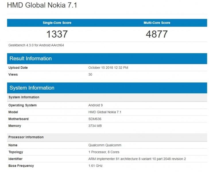 Nokia 7.1 chạy Android 9.0 Pie xuất hiện trên Geekbench