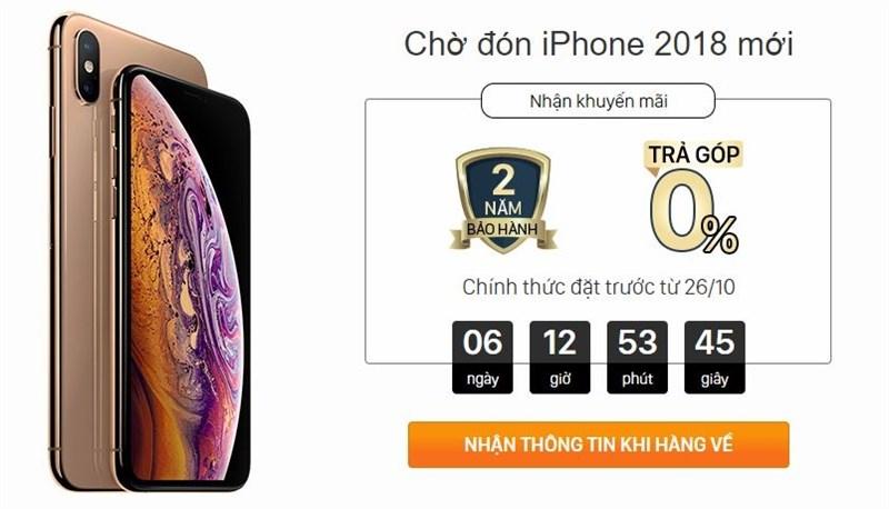 iPhone XR, Xs, Xs Max có giá bán dự kiến, ngày đặt hàng tại Thế Giới Di Động