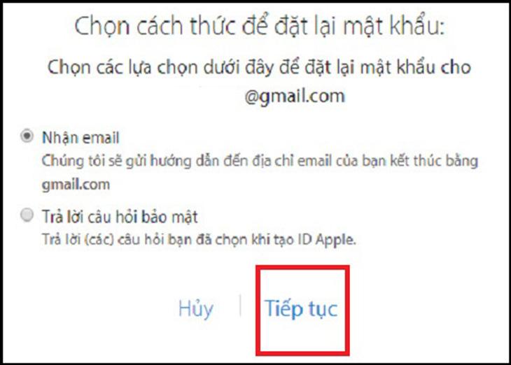 Khôi phục tài khoản iCloud bằng Gmail