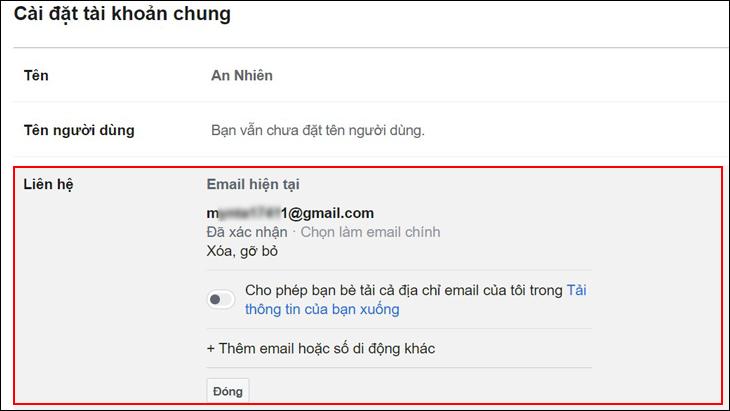 Vào mục Liên hệ để tra cứu lại email, tài khoản đã quên trước đó