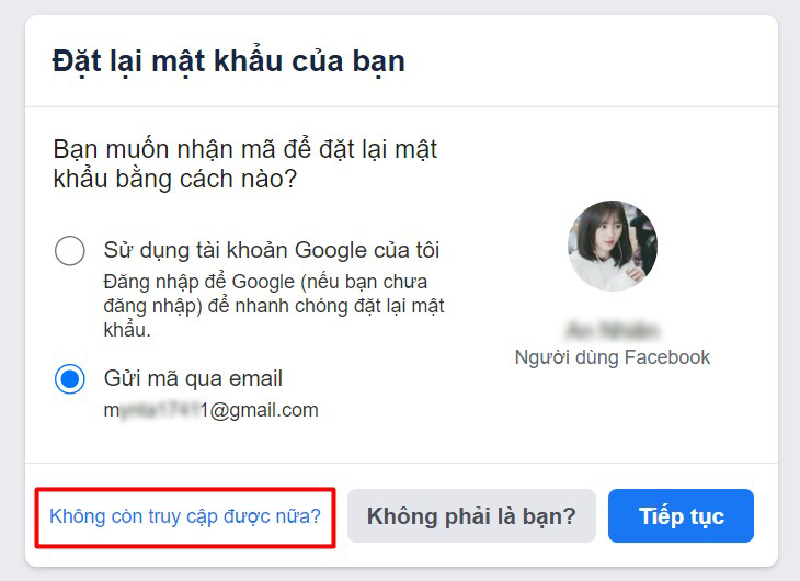 Tại trang Đặt lại mật khẩu của bạn, nhấn chọn Không còn truy cập được nữa