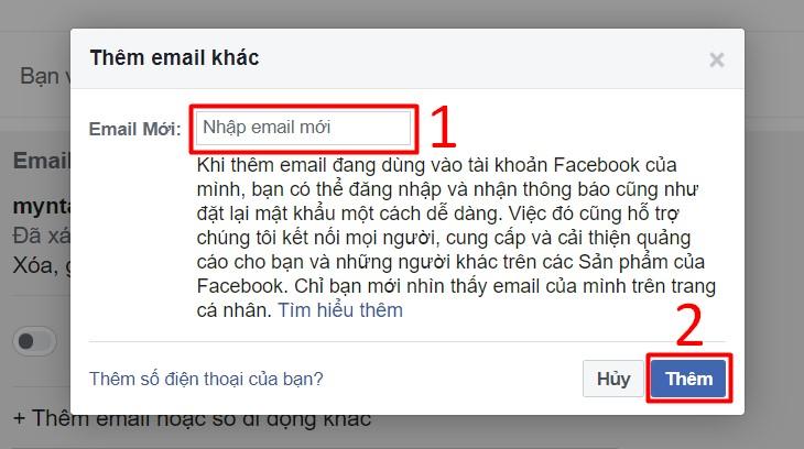 Thêm email hoặc số điện thoại khác cho tài khoản
