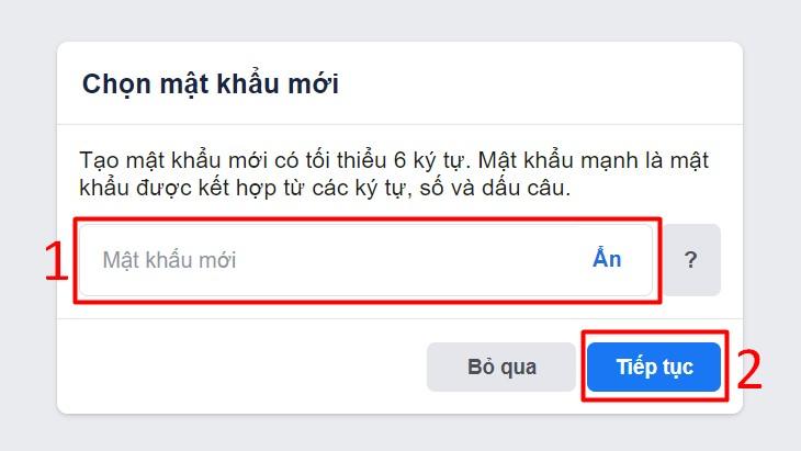 Đặt lại mật khẩu mới, sau đó tiến hành đăng nhập lại tài khoản Facebook