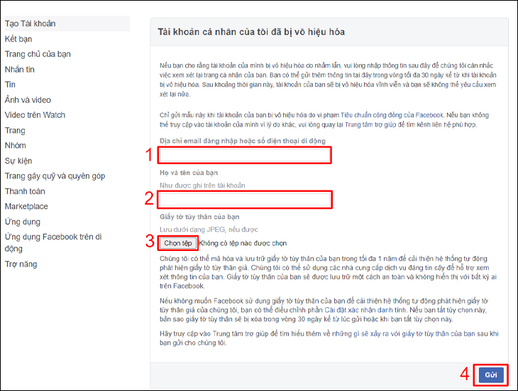 Lấy lại mật khẩu Facebook trong trường hợp tài khoản bị vô hiệu hóa