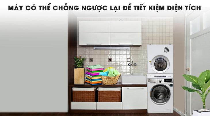 Úp ngược, đặt trên máy giặt tiết kiệm diện tích
