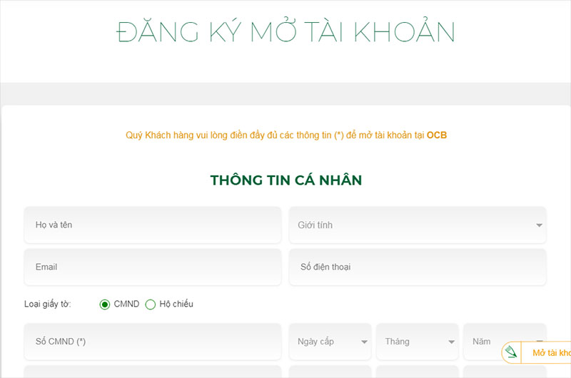 Mở thẻ Online