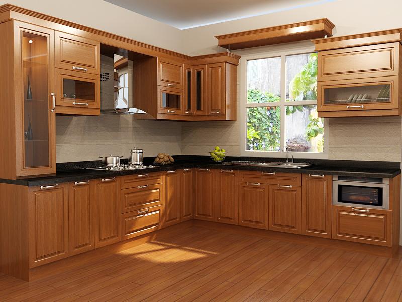 Tủ bếp gỗ phù hợp với nhiều không gian