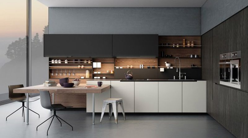Tủ bếp dài, song song phù hợp với thiết kế căn bếp hiện đại