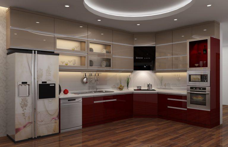 Tủ bếp kịch trần tận dụng tối đa không gian