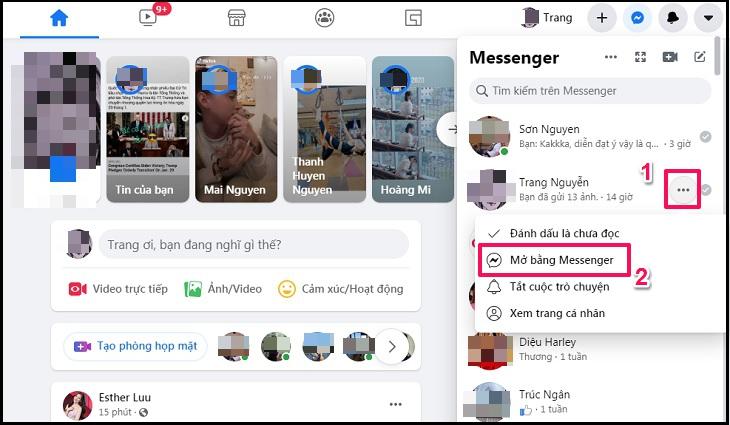 Nhấp vào kí hiệu 3 chấm, chọn nút Mở bằng Messenger