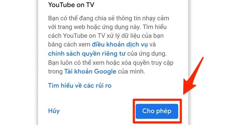 Cho phép đăng nhập tài khoản Youtube trên điện thoại