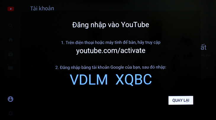 Mã kết nối đăng nhập tài khoản Youtube trên tivi