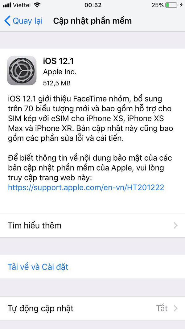 iOS 12.1 cải tiến