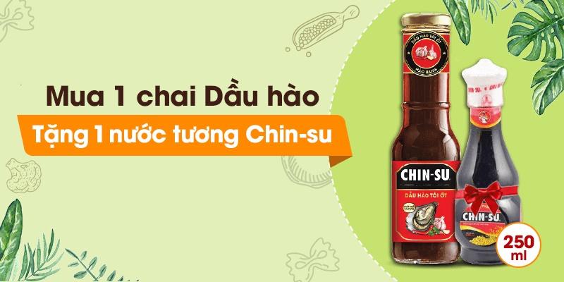 Tặng 1 chai nước tương Chinsu 250ml khi mua 1 chai dầu hào Chinsu 320g