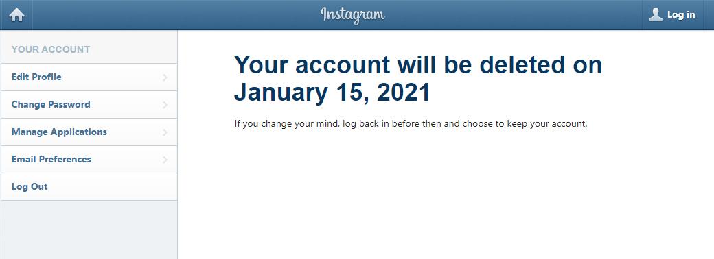 Bước 3: Chọn Delete tài khoản.