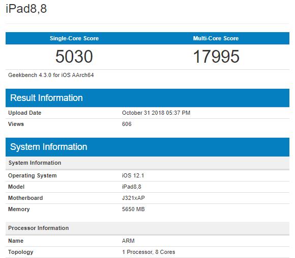 Apple A12X phô diễn điểm số sức mạnh trên Geekbench