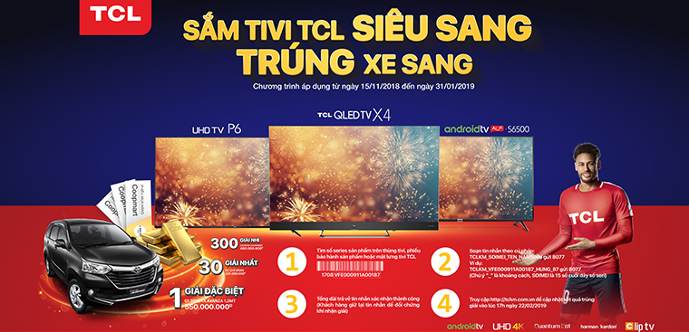 Mua tivi TCL có cơ hội trúng xe Toyota, vàng PNJ, Voucher mua hàng Coopmart