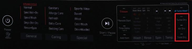Chương trình sấy máy giặt LG F2721HTTV