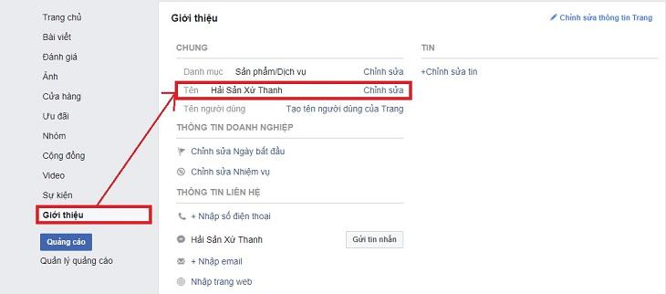 Kết quả hình ảnh cho cách đổi tên fanpage facebook