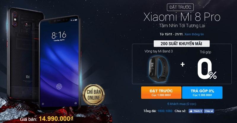Xiaomi Mi 8 Pro lên kệ và cho đặt trước tại Thế Giới Di Động