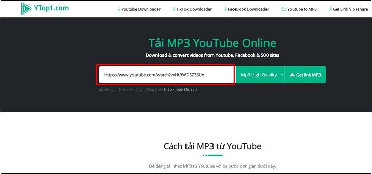 Sao chép đường link YouTube cần tải nhạc và dán vào trang Ytop1