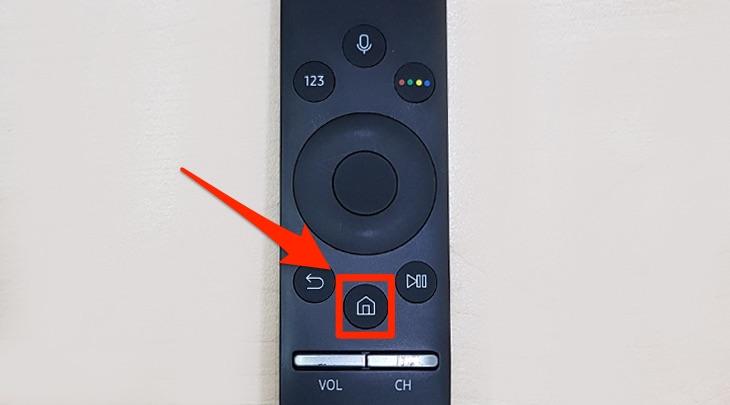 Cách bật tiết kiệm điện Smart tivi Samsung 2018 - nhấn nút home