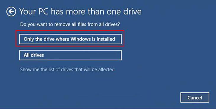 Cách reset Win 10 không cần Boot USB hay đĩa CD + Bước 4