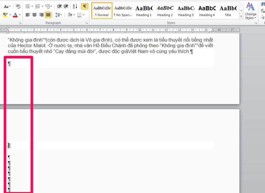 Bôi đen toàn bộ các trang trắng xuất hiện bởi các Paragraph và nhấn Delete để xóa trang trắng trong Word.