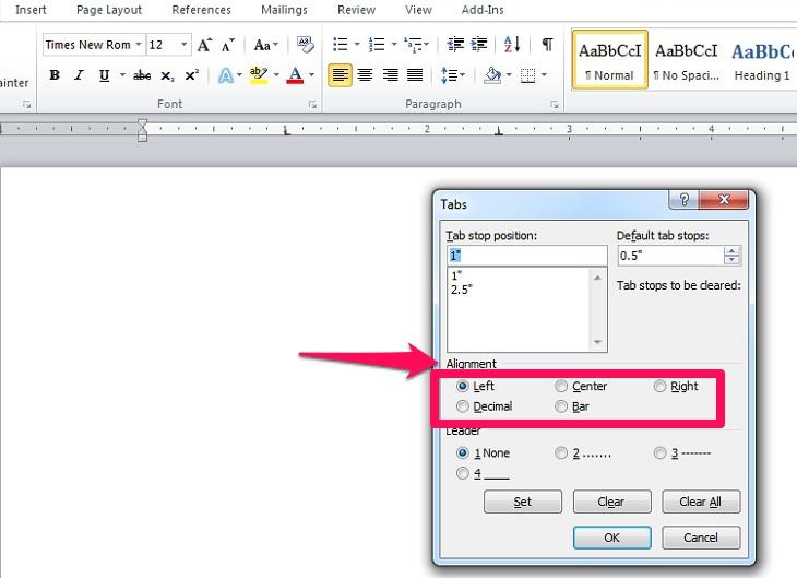 điều chỉnh loại tab trong mục Alignment