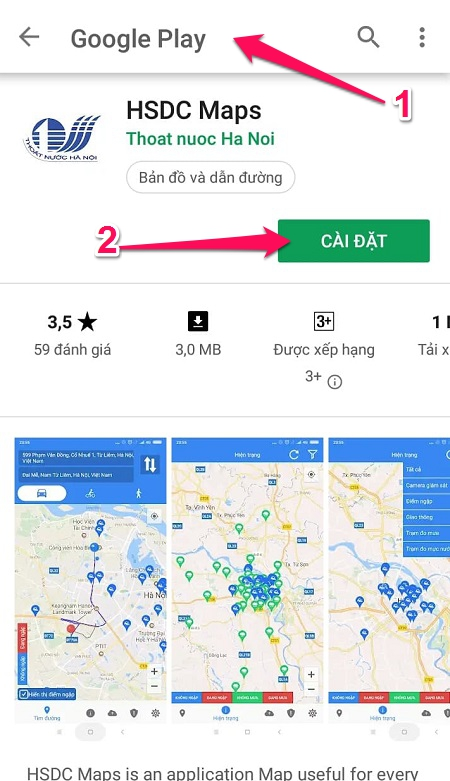 cài đặt ứng dụng HSDC Maps trong Google Play